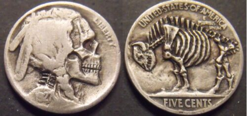 Hand Carved  Hobo nickel skull skeleton  unsigned  free mail
