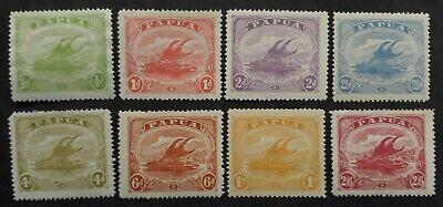 RARE 1911- Papua lot of 8 Lakatoi monocolour postage stamps Mint