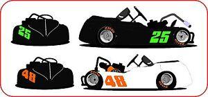 Fluorescent Go Kart Racing Vinyl Decal Numbers