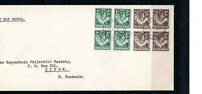 1951 Northern Rhodesia GVI blocks of 4 1d & 1/2d (SG 26, 28) FDC with Kitwe cds