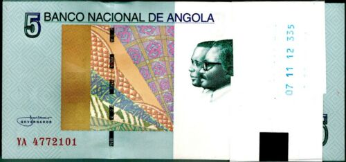 2012 Angola 5 Kwanzas Bundle Uncirculated 100 Notes