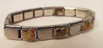 D'LinQ~Stainless Steel Italian Slide Charm Bracelet NAVY~ARMY~Support Troops~NY