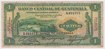 """Guatemala 1 Quetzal 1946 P20 VF Bird Monolith """"F"""" Quiriguá BANCO DE GUATEMALA OP"""