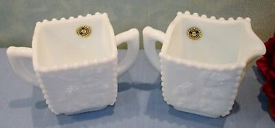 Westmoreland Beaded Grape White Milk Glass Creamer and Sugar