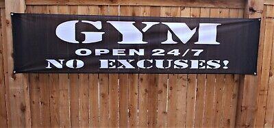New Gym Open 247 No Excuses Banner Black Flag Shop Sign 2x8 Outdoor Vinyl Mesh