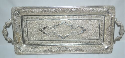 Vintage Middle Eastern Persian SA 90%+ Silver Rectangular Footed Tray