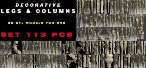 113 PCS 3D STL Model # DECORATIVE LEGS COLUMNS # for CNC 4 AXLE Engraver Carving