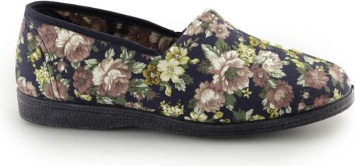 Sleepers ROSE Womens Ladies Cotton Roll Top Floral Full Slippers Shoes Navy Blue