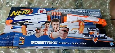 Nerf N Strike Elite Sidestrike Blaster 2 Pack Duo Guns 12 Darts zombie