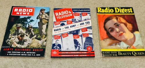 Lot of 3, Vintage Radio News Magazine 1943, Radio & TV 1941, Radio Digest 1931