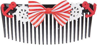 Sailor MILDA Anchor Anker Ribbon BOW Nautical HAARKAMM Hair Comb Rockabilly ()
