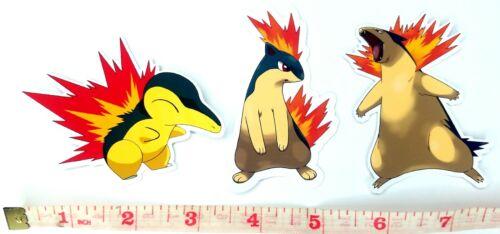 Cyndaquil, Quilava, Typhlosion - 3 Pokemon Vinyl Sticker Set
