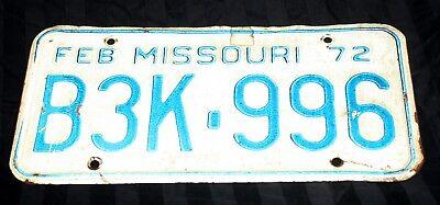 Vintage 1972 Missouri License Plate B3K 996