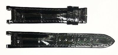 Authentic Cartier 16MMx14MM Black Alligator Shiny Leather Watch Bands KD66A037