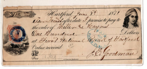 US revenue stamp paper bank check SC#R10 promissory note 1871 ID#S915