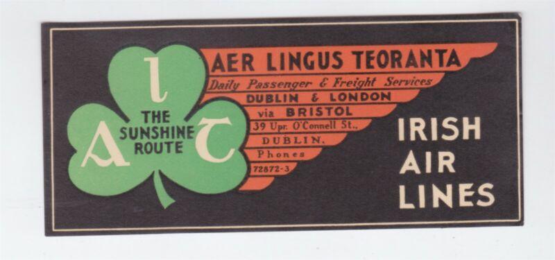 IRELAND AER LINGUS OLD BAGGAGE LABEL IRISH AIRLINES