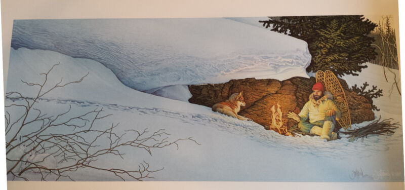 "Scott Kennedy Sled Dog Print ""Snowshoes"" S/N AP 15/50  1989"