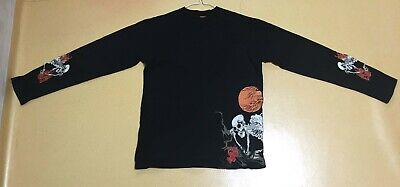 scull embroidered long sleeve t-shirts Japan design Men Small size