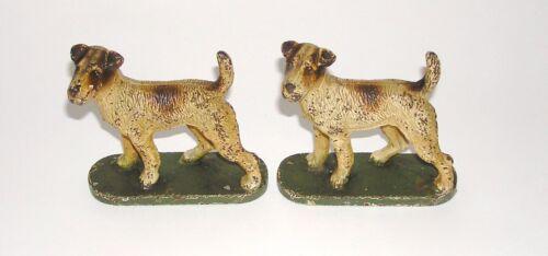 Rare Full Figure Hubley Fox Terrier Cast Iron Bookends - Nice! (DAKOTApaul)