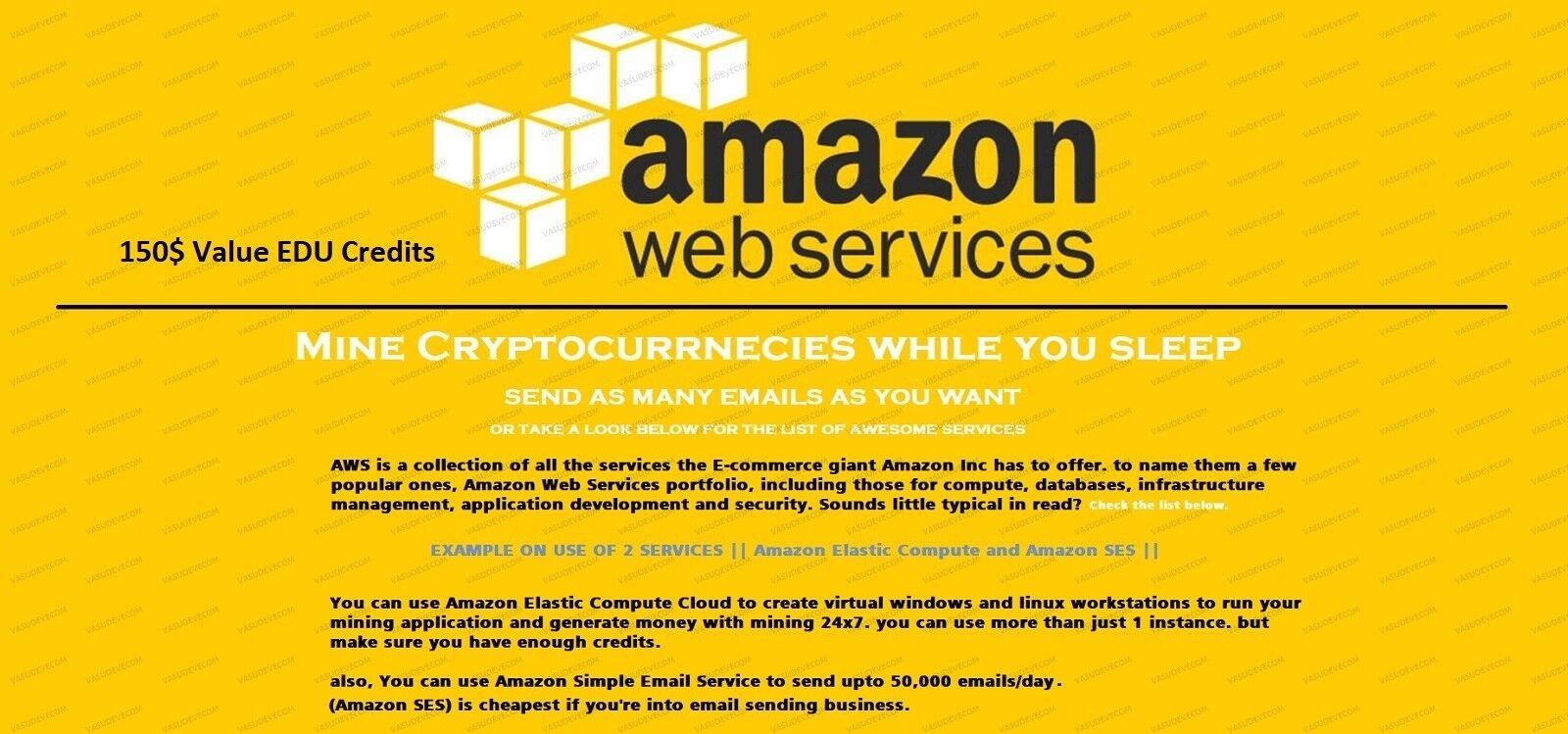 $150 aws credits amazon web services credit EC2 SQS RDS promocode