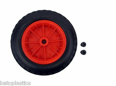 "PU 14"" Puncture Proof RED Wheelbarrow Wheel Tyre 3.50 - 8 Light Weight FOAM"