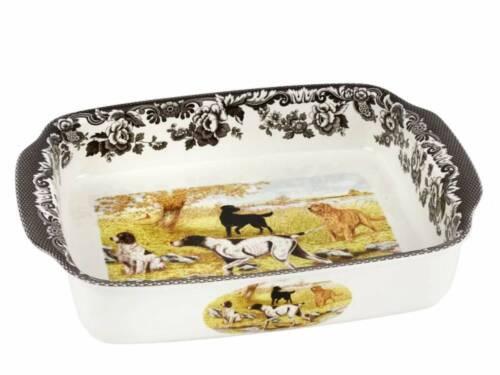 "Spode WOODLAND Hunting Dogs Handled Lasagne Rectangular Baking Dish 15"" NEW"