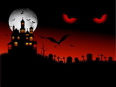 Spooky Halloween Scene & Eyes 10x8FT Vinyl Studio Backdrop Photo Background Prop