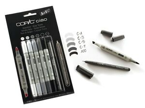 COPIC CIAO MARKER - 6 PEN SET - GREY TONES SET - TWIN TIPPED
