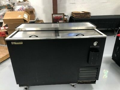 Silver King Bottle Cooler Back Bar Slide Top 3 Door W Casters Skbc50