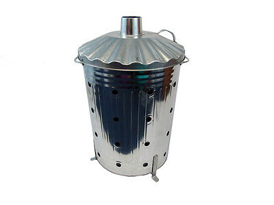 GARDEN INCINERATOR  90L FAST BURNER HEAVY GAUGE WITH  HOLES ALL THE WAY UP