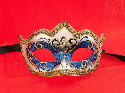 Mask from Venice Colombine a Tip Nymph Blue Authentic Venetian 745 V39B