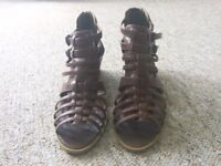 Brown heeled sandals size 8