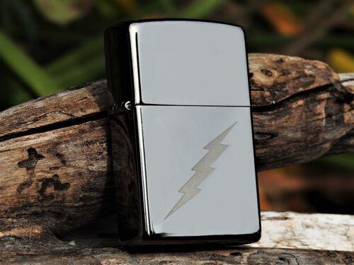 Zippo Lighter - Lightning Bolt Design - Black Ice - Model Number: 29734