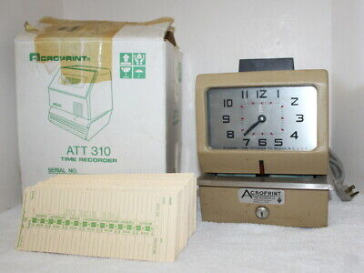 Vintage Acroprint Att-310 125ar3-bx Time Recorder Clock Cards Box Untested