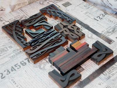 Letterpress Border Wood Printing Blocks Ornaments Decorative Art Nouveau Old Y