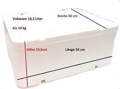 Styroporbox Thermobox mit Deckel 18,32L /500x300x198mm Kühlbox Camping bis 10kg
