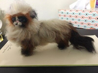 Felted Ragdoll Kitty Cat Fully Wired Sheeps Wool OOAK
