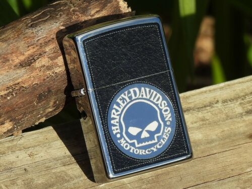 Zippo Lighter - Harley Davidson Willie G Skull - Distressed Leather Look -Etched