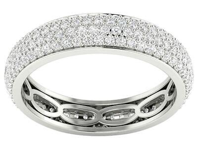 Pave Set Designer Eternity Ring I1 G 1.30 Ct Round Diamond 14K White Gold Size (Designer Eternity Jewelry Set)