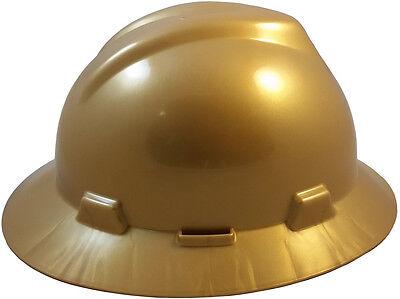 Msa Gold New Color  Full Brim V Gard Slotted  Safety Hard Hat Ratchet Susp New
