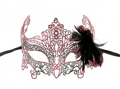 Mask Venice Lace Metal Bright Pink Feathered 1037