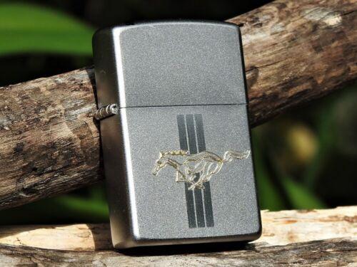 Zippo Lighter - Ford Motor Company - Mustang - Engraved - Tri-Bar Running Horse