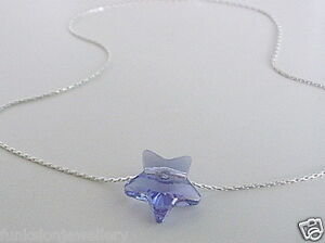 Anklet-925-Sterling-Silver-Made-with-Swarovski-Elements-Tanzanite-Blue-Star-Bead