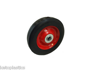 "6"" SOLID TROLLEY / SACK TRUCK WHEEL WITH 16MM ROLLER BEARINGS METAL CENTRE"