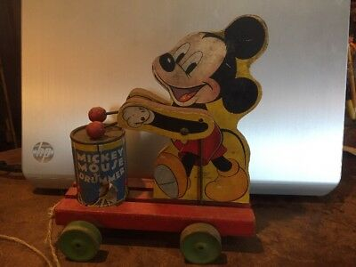 Vintage 1940's Fisher Price Mickey Mouse Drummer wood pull toy