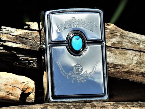 Zippo Lighter - Jack Daniels Old No. 7 - Turquoise - Engraved - Rare - # 20675
