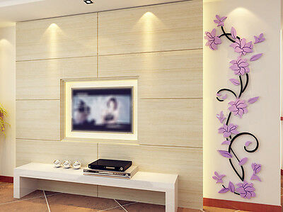 DIY 3D Acrylic Wall Sticker Shop Window TV Background Decal Home Decor Removable
