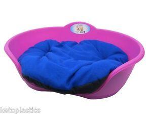 SMALL Plastic FUCHSIA PINK Pet Bed With ROYAL BLUE Cushion Dog Cat Sleep Basket