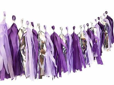 Frozen themed Party Purple Tissue Tassel &Balloons Baby Shower birthday - Purple Birthday