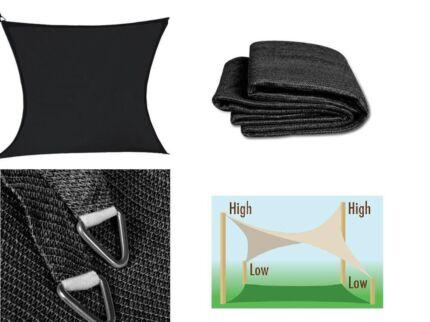 2 x shade sails (5m x 5m) charcoal/black